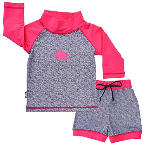 JAN & JUL Toddler Girls 50+ UPF Swim-wear, Short and Sleeved Shirt (Set L: 18-36m, Whale)