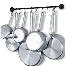 Steel Gourmet Kitchen 24 Inch Wall Rail and 10 S Hooks Set Utensil Pot Pan Lid Rack Storage Organizer Black Color by Fasthomegoods