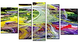 Startonight Canvas Wall Art Chaos of Colors, Abstract USA Design for Home Decor, Dual View Surprise Wall Art Set of 5 Total 35.43 X 70.87 Inch 100% Original Art Painting!