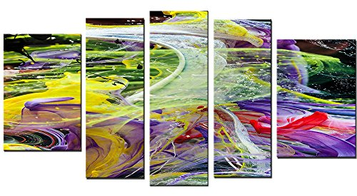 Startonight Canvas Wall Art Chaos of Colors, Abstract USA Design for Home Decor, Dual View Surprise Wall Art Set of 5 Total 35.43 X 70.87 Inch 100% Original Art - Meter Dog Bird