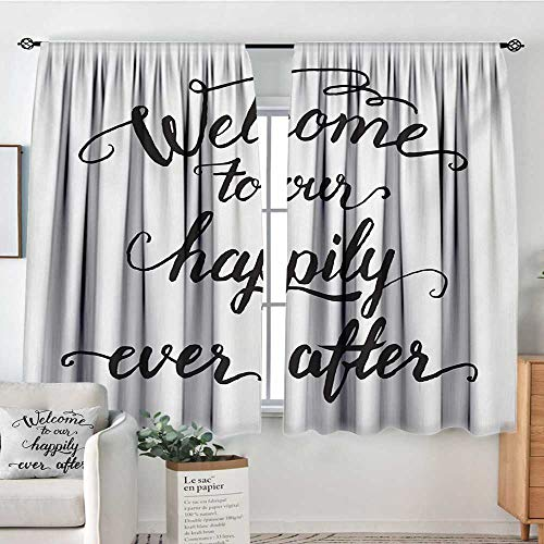 - All of better Quote Room Darkening Curtains Vintage Fountain Pen Lettering Wedding Phrase Welcome to Our Happily Ever After Decorative Curtains for Living Room 55