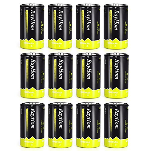 RayHom D Batteries Rechargeable 10,000mAh Ni-MH High Capacity Battery (12 Pack) by RayHom