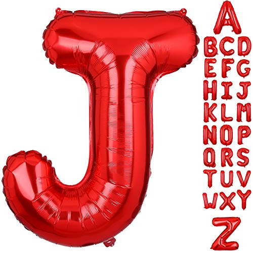 40 Inch Large Letter J Foil Balloons Red Alphabet Mylar Balloon for Birthday Party Decoration Wedding Decor Girls -