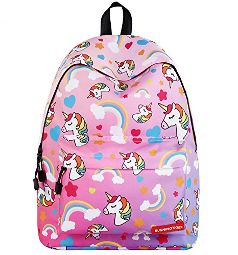 Unicorn Girls Backpack Kids School Bookbag for Teens Girls Students Pink