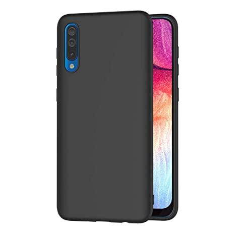 AICEK Funda Samsung Galaxy A50, Negro Silicona Fundas para Samsung A50 Carcasa Galaxy A50 Negro Silicona Funda Case (6,4 Pulgadas)