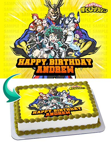 My Hero Academia 4 Edible Cake Topper Image Personalized Birthday 1/4 Sheet Custom Sheet Party Birthday Sugar Frosting Transfer Fondant Image ~ Best Quality Edible Image for cake