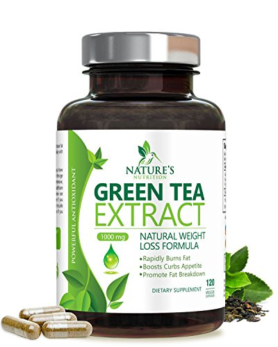 Green Tea Extract Supplement with EGCG for Weight Loss - Antioxidant & Healthy Fat Burner - Boost Metabolism & Promote a Healthy Heart - Natural Caffeine for Gentle Energy - 120 Veg Capsules