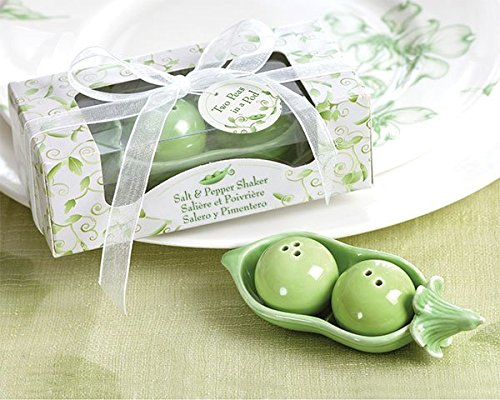 Two Peas in a Pod - Ceramic Salt and Pepper Shakers in Ivy Print Gift (Two Peas In A Pod Saying)