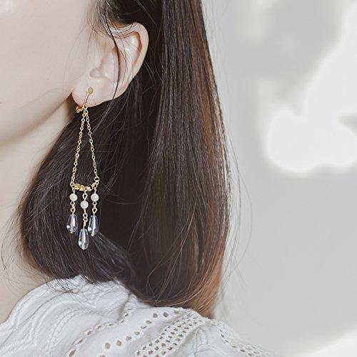 Light Retro Goddess Triangular Glass Beads Crystal Pearl Tassel Drop Earrings earings Dangler Eardrop Gilded ()