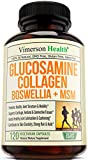 Glucosamine Collagen with Boswellia & MSM - Advanced Natural Joint Support for Improved Mobility & Flexibility. Maintains Healthy Muscle, Cartilage, Bones, Hair, Skin & Nails - 120 caps