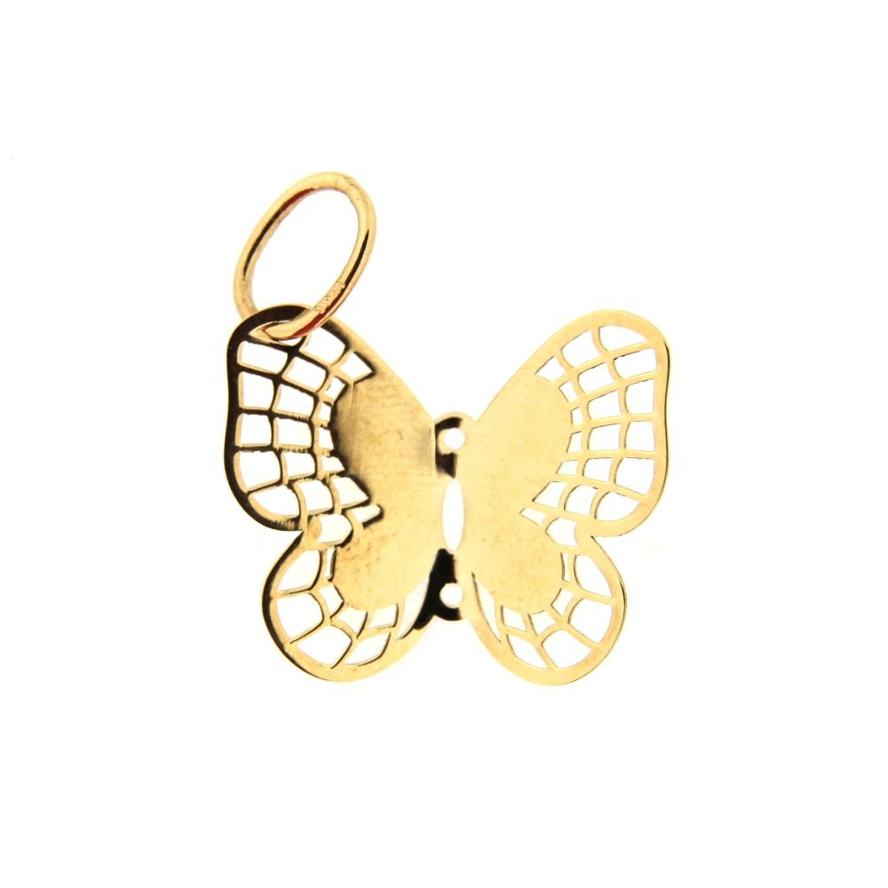 18K Yellow Gold Butterfly Pendant 0.8 x 0.75 inch. Aprox