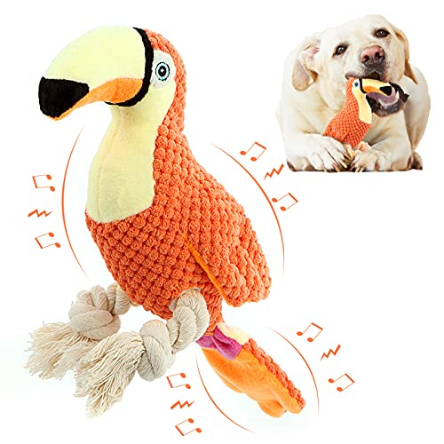 Durable Plush Dog Toys, Squeaky Chew Toys for Puppies Stuffed with Crinkle Paper, Tug of War Dog Chew Toys for Small Middle Large Breed Dogs with Toucan Shape