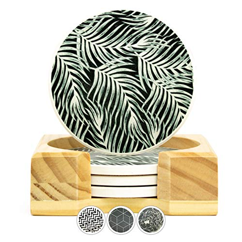 - Gramercy Kitchen Co Coasters for Drinks (Black Palm)