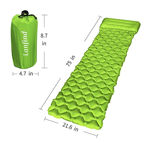 LANFIND Camping Sleeping Pad Inflatable with Attached Pillow Lightweight Air Mattress, Compact and Compressible – Works Perfectly with an Envelope Sleeping Bag