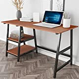 Dland 55'' Large Computer Desk, Composite Wood Board, Home Office Desk/ Workstation/ Table with 2 Shelves, Tplus-140TB Teak & Black Legs, 1 Pack