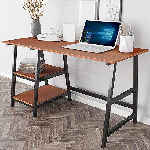 DlandHome 55'' Large Computer Desk, Composite Wood Board, Home Office Desk/Workstation/ Table with 2 Shelves, Tplus-140TB Teak & Black Legs, 1 Pack by DlandHome