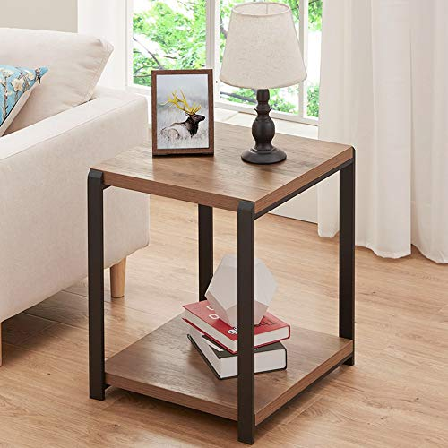 FOLUBAN Industrial End Table, Square Side Table with Storage Shelf for Living Room, Wood and Metal Nightstand, Oak