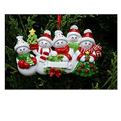 Amazon.com: Treasured Ornaments Snowman Family of 5 Personalized ...