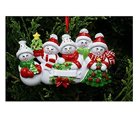 Amazoncom Treasured Ornaments Snowman Family of 5 Personalized