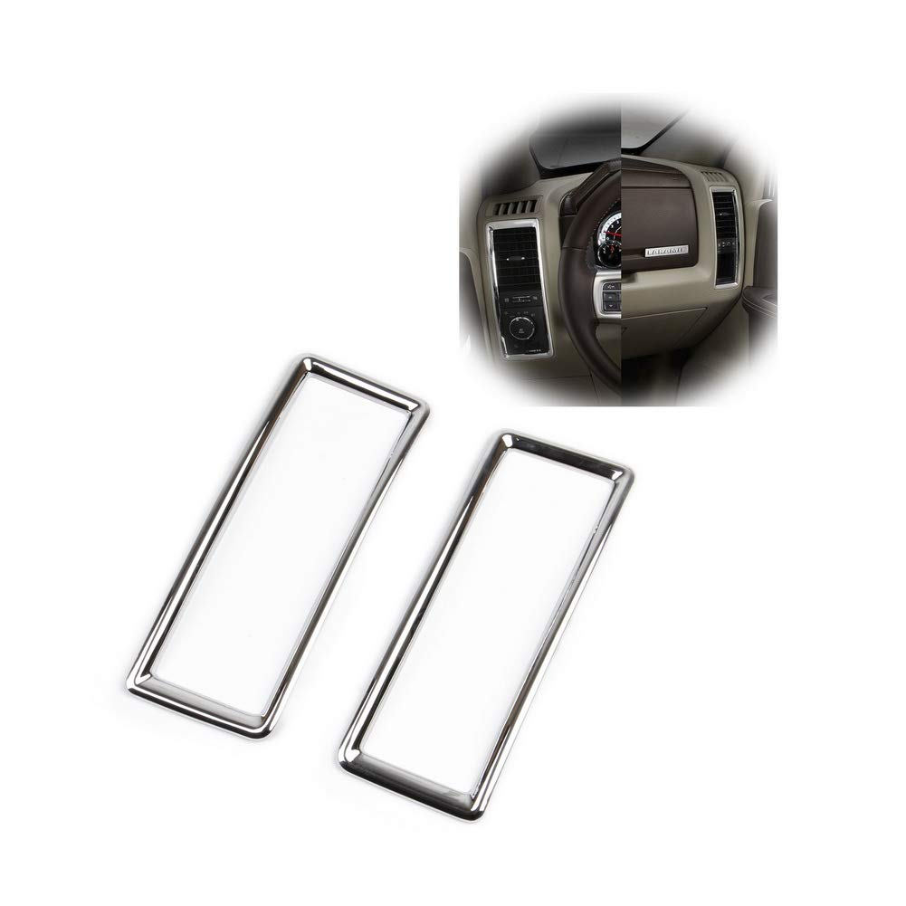 JSTOTRIM Chrome Dashboard Side A/C Vent Frame Cover Trim fit 2014 2015 2016 2017 2018 Dodge RAM 1500 2500 3500 Accessories