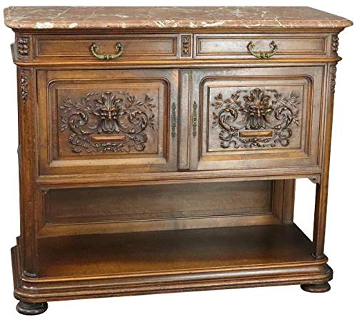 EuroLuxHome Server Sideboard Antique 1890 French Renaissance Carved Faces Walnut Marble Top