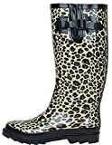 G4U Women's Rain Boots Multiple Styles Color Mid Calf Wellies Buckle Fashion Rubber Knee High Snow Shoes (10 B(M) US, Leopard-1)