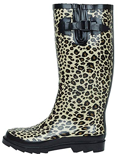 (G4U Women's Rain Boots Multiple Styles Color Mid Calf Wellies Buckle Fashion Rubber Knee High Snow Shoes (10 B(M) US, Leopard-1))
