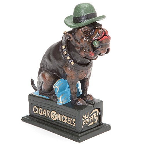 Bull Bank - Bits and Pieces - Bull Dog Mechnical Coin Bank - Hand-Painted English Bulldog Collectible Cast Iron Bank