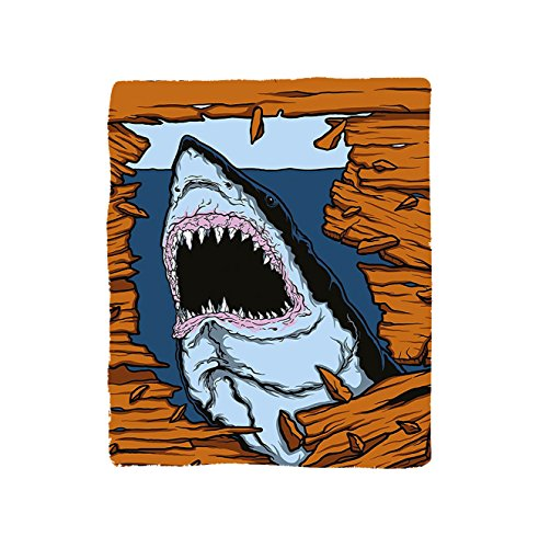 VROSELV Custom Blanket Shark Wild Fish Breaking Wooden Plank Danger Sign Killer Creature Fun Illustration Bedroom Living Room Dorm Ginger Dark (Plank Park Lift)