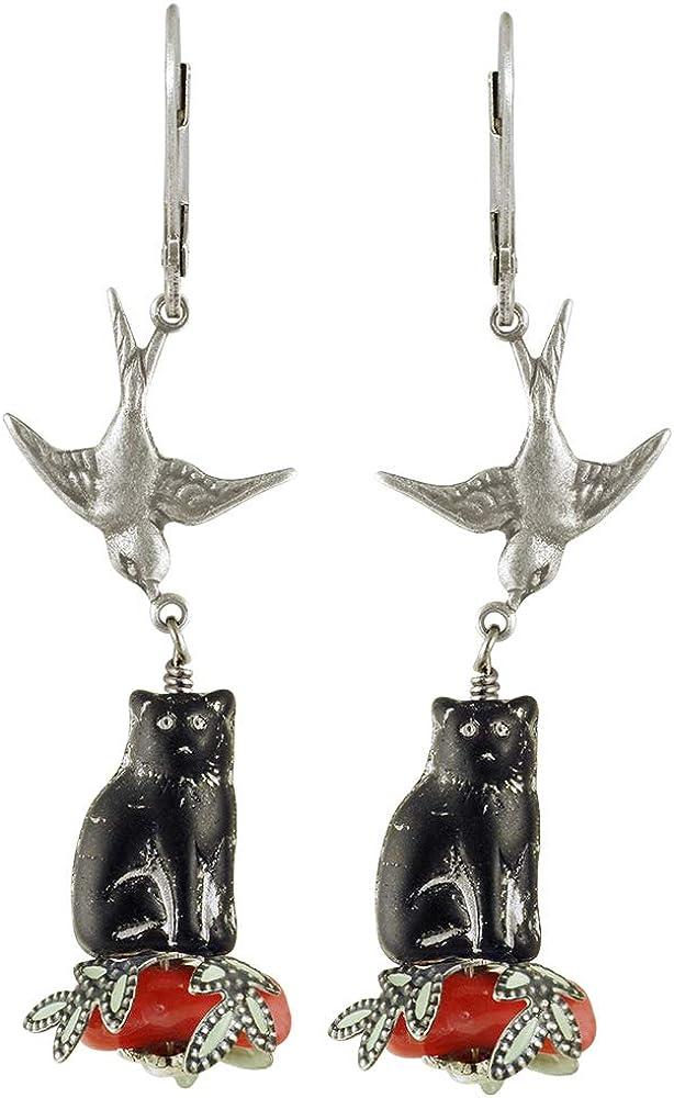 NoMonet - Pendientes pintados a mano, diseño de gato, color negro, plata y coral
