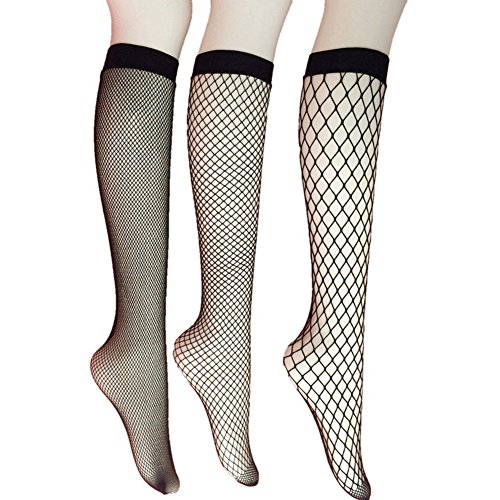 3 Pairs Women's Fishnet Knee High Socks Black On Knee High Socks Stockings Sexy Socks (Black Fishnet Knee Highs)