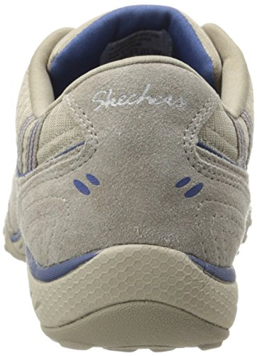 Skechers Breathe-Easy Take Ten - Zapatillas de cuero mujer Stone Suede/Mesh/Navy Trim