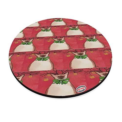 (Round Mouse Pad Trivet Hot Plate - Siamese Reindeer Kitty Christmas Cat Modern Art by Denise Every )