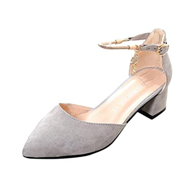 a2b1ce04c37a9 Nevera Women s Chunky Block Strappy High Heel Sandals Ankle Band Classic  Closed Toe Shoes Gray
