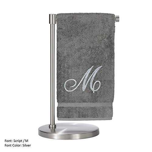 Monogrammed Bath Towel, Personalized Gift, 27 x 54 Inches - Set of 2 - Silver Script Embroidered Towel - 100% Turkish Cotton- Soft Terry Finish - For Bathroom,Kitchen or Spa - Script M Gray