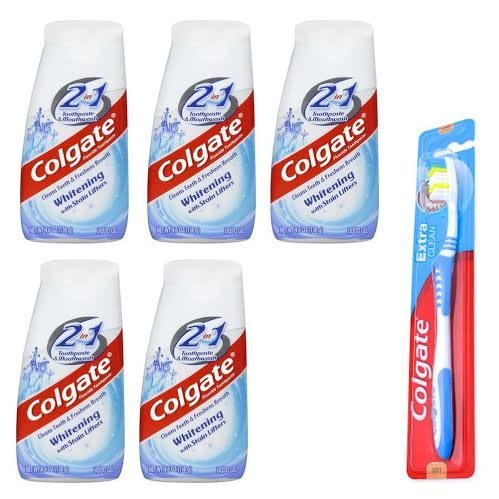 Whitening Toothpaste Colgate Whitening Flouride Toothpaste 2 in 1 with Mouthwash and Stain Lifters, 4.60 oz., 5 Pack, & Colgate Whitening Toothbrush