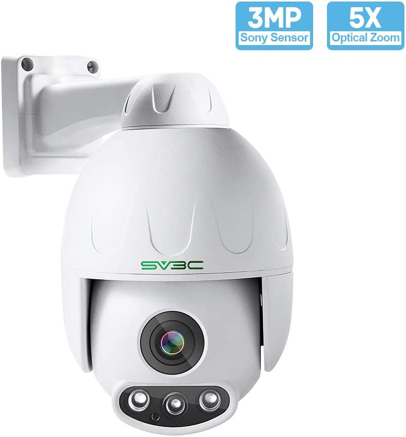 3MP PTZ Camera Outdoor, SV3C HD POE Security IP Camera Outdoor 5XOptical Zoom Pan Tilt Speed Two-Way Audio, 165-190FT Night Vision-Sony Sensor, H.265 Onvif Motion Detection, Support Max 128GB SD Card