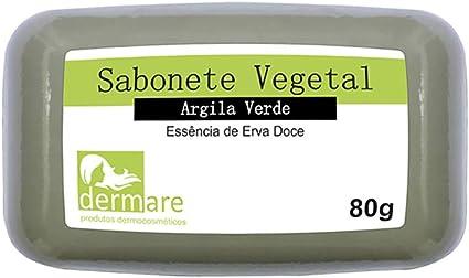 Sabonete Vegetal Argila 80g Dermare - Verde