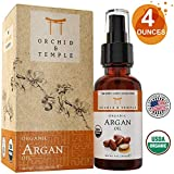 USDA Certified Organic Argan Oil. Premium 4 oz Bottle w Dropper. Pure Therapeutic Grade Undiluted. For Hair, Face, Skin, Scalp & Nails