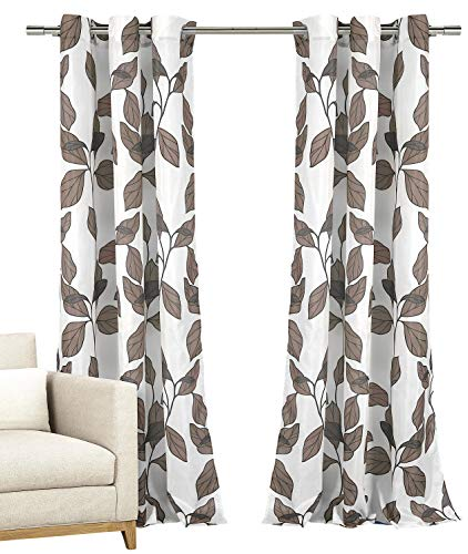 Set of Two (2) Window Curtains: Grommeted Panels with White with Mocha Taupe Grey Modern Leaf Design, 110