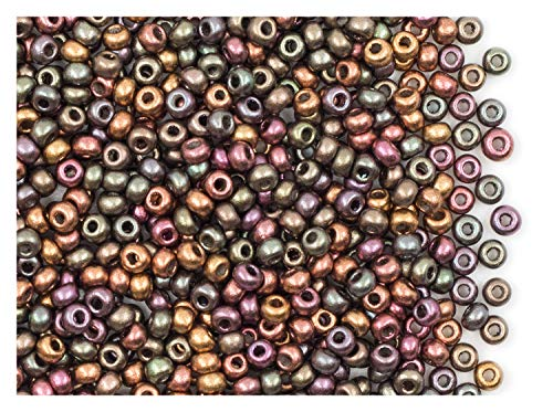 20gr (Approx. 750 pcs) 8/0 Czech Glass Seed Beads Rocailles, Purple Iris Gold
