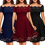 Digital baby Ladies Fashion Sexy Strapless Short Sleeve Lace Dress(Navy Blue,2XL)