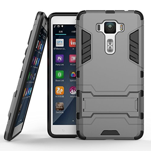 """Zenfone 3 Deluxe 5.5"""" ZS550KL Armor Case DWaybox 2 in 1 Hybrid Heavy Duty Hard Back Cover Case with kickstand for ASUS Zenfone 3 Deluxe ZS550KL 5.5 Inch (Gray)"""