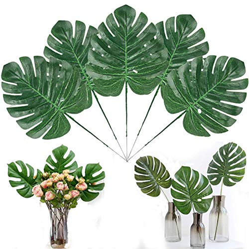 Linkhome 30PCS Artificial Tropical Palm Leaves with Stems 15.7 inch Hawaiian Luau Party Jungle Beach Theme Decorations for Table Decoration Accessories -