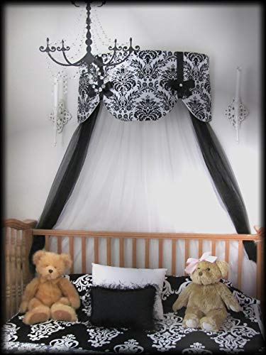 Scalloped Satin Design (Crib Canopy Nursery Bed Crown Cornice Teester Swag Suzette Bows Damask Bedroom FrEE Curtains Baby Girls Custom Design So Zoey Boutique SALE)