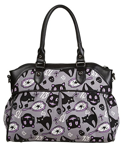 Cool Cat Halloween Makeup (Banned Apparel Cut Loose Unlucky 13 Black Cat Halloween Vegan Crossbody)