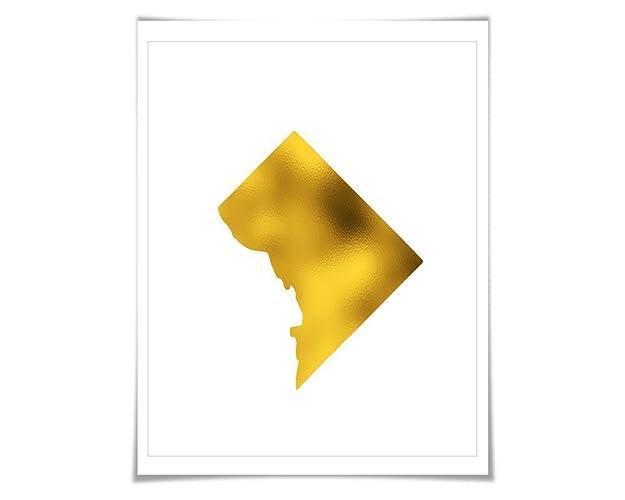Amazon.com: Washington, D.C. Map Gold Foil Art Print. 7 Foil Colours ...