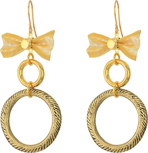 Gold Tone Mesh Bow (Vanessa Mooney Women's The Mesh Bow Hoop Earrings Gold One Size)