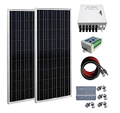 ECO-WORTHY 200 Watts Solar Panel Kit: 2pcs 100W Poly Solar Panel + Solar Cable Adapter + 15A Charge Controller + Combiner Box + Z Mounting Brackets for RV Boat