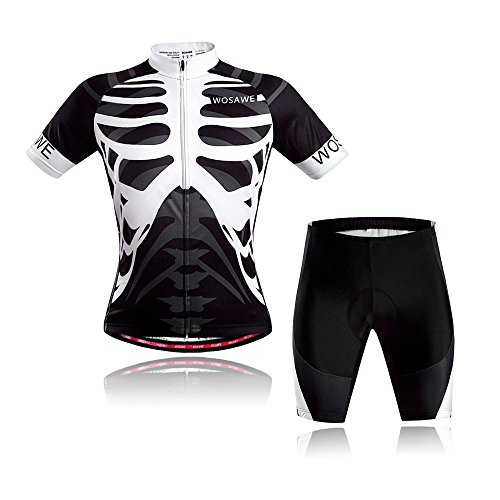 Wolfbike Men Cycling Jersey Shorts Sportswear, Skeleton Suit, Size M